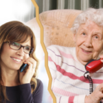 A woman talking to a old lady on phone