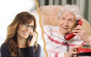 A woman talking to an old lady on phone