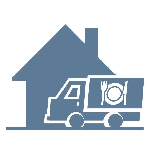 Takeout or home delivery meals logo